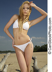 bonito, loiro, mulher, em, biquíni branco