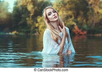 bonito, loiro, mulher, white.