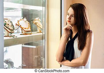 bonito, loja, menina, jóia, escolher