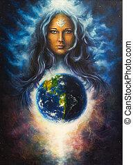 bonito, lona, óleo, lada, deusa, mulher, quadro
