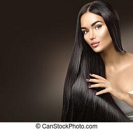 bonito, longo, hair., beleza, modelo, menina, tocar, saudável, cabelo