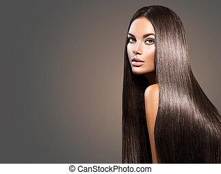 bonito, longo, hair., beleza, mulher, com, direito, cabelo...