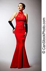 bonito, longo, posar, vestido casamento, recém casado, vermelho