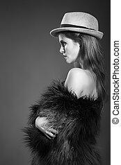 bonito, look.glamor, moda, jovem, alto, pano, mulher, pretas, excitado, retrato, elegante, modelo, caucasiano