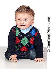 bonito, loura, bebê, olhos azuis