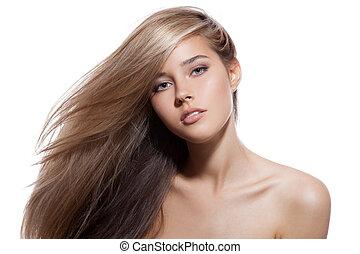 bonito, loura, girl., saudável, longo, hair., fundo branco