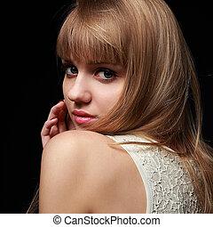 bonito, loura, menina adolescente, olhar, com, bob, estilo cabelo