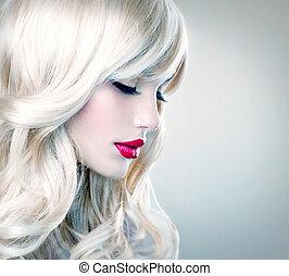 bonito, loura, menina, com, saudável, longo, ondulado, hair., cabelo branco