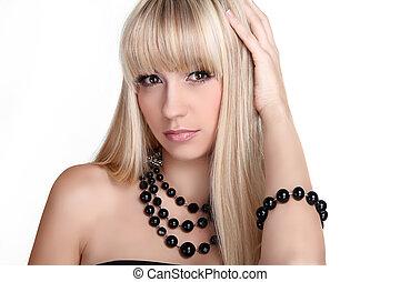 bonito, loura, mulher, com, cabelo longo, penteado, isolado, branco, experiência., moda, e, jóia