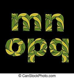 bonito, lowercase, este prego, letras, primavera, m, ornament., pattern., letters., herbário, verde, capital, floral, n, decorado, fonte, q, p