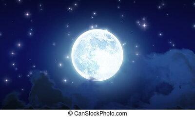 bonito, lua, brilho, looped