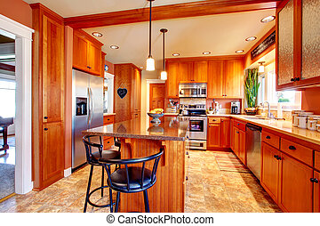 bonito, luminoso, desenho, sala, cozinha