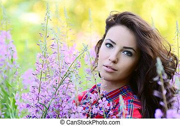 bonito, lupin, mulher, campo