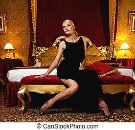 bonito, luxo, interior, mulher
