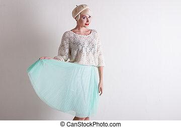 bonito, luz, loiro, vestido, francês