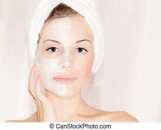 bonito, máscara, facial, rosto