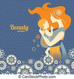bonito, mãe, silueta, com, bebê, em, um, funda, e, floral, fundo