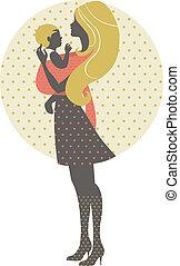 bonito, mãe, silueta, com, bebê, em, um, funda, retro, ilustração