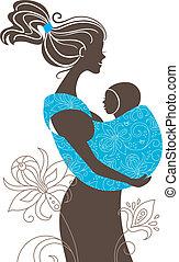 bonito, mãe, silueta, com, bebê, em, um, funda