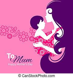 bonito, mãe, silueta, com, bebê, em, um, sling., floral, ilustração