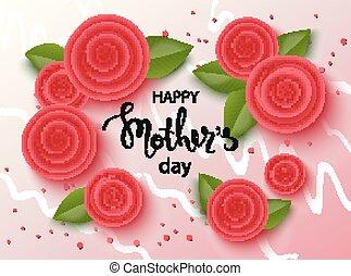 bonito, mães, flowers., fundo, dia, feliz