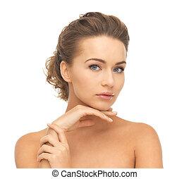 bonito, mãos, rosto mulher
