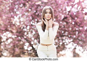 bonito, místico, moda, arte, beleza, primavera, mágico, fantasia, portrait., garden., menina, modelo