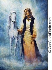 bonito, místico, mulher, quadro, óleo, histórico, vestido