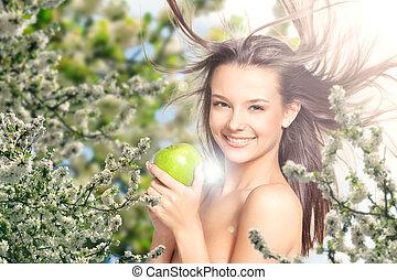 bonito, maçã, lilás, mão, menina, flores