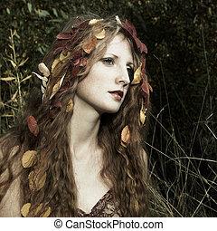 bonito, madeira, retrato mulher