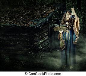 bonito, magia, dia das bruxas, jovem, feiticeira, lançando, menina