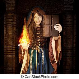 bonito, magia, dia das bruxas, jovem, livro, feiticeira, menina
