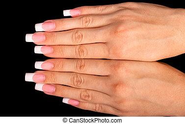 bonito, manicure francês, mãos