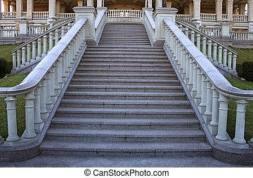 bonito, mansão, parque, escadaria, clássico