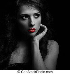 bonito, maquilagem, mulher olha, dramático, com, vermelho, lipstick., preto branco, retrato