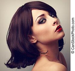 bonito, maquilagem, perfil, de, cabelo preto, woman., closeup, vindima, retrato