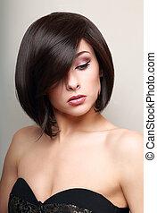 bonito, maquilagem, woman., pretas, cabelo curto, style., voga, retrato