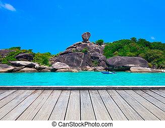 bonito, mar, azul, céu, em, similan, ilha, mar andaman, tailandia