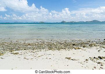 bonito, mar, azul, céu, em, verão, em, sattahip, chonburi, tailandia