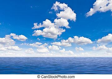 bonito, mar, azul, céu