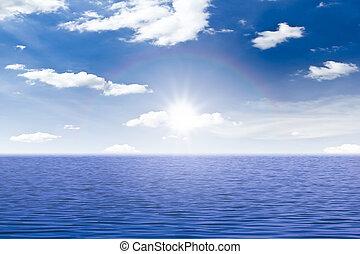 bonito, mar, céu, e, pôr do sol