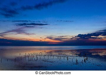 bonito, mar, em, crepúsculo