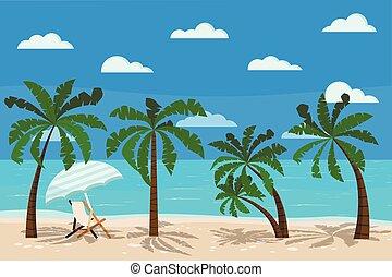 bonito, mar, paisagem, longue chaise, ilustração, vetorial