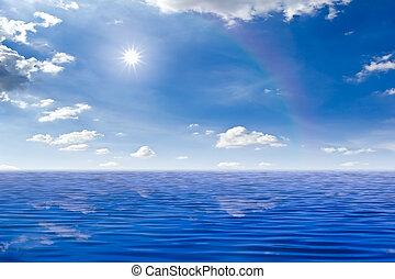 bonito, mar sol, em, céu azul