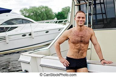 bonito, marinheiro, seu, muscular, yacht.