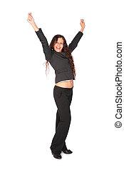 bonito, marrom-brown-haired, mulher, com, mãos levantadas