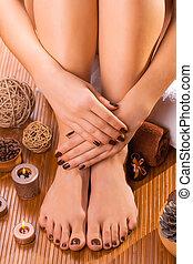 bonito, Marrom,  manicure,  pedicure