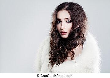 bonito, marrom, mulher, beauty., cabelo longo, feminilidade