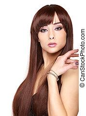 bonito, marrom, mulher, isolado, cabelo longo