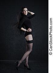 bonito, meias, mulher, jovem